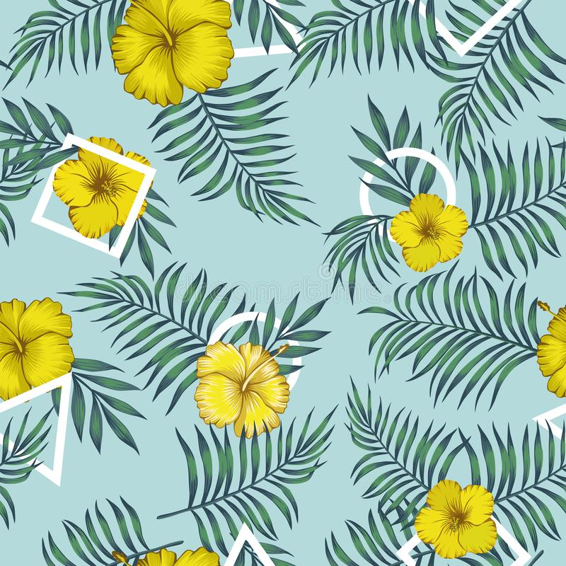Yellow hibiscus leaves blue tone triangle square round seamless. Yellow hibiscus flowers and exotic leaves blue tone seamless pattern with white geometrical stock illustration