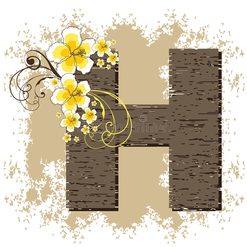 Download Yellow Hibiscus Vintage Alphabet H Stock Vector - Image: 3878131