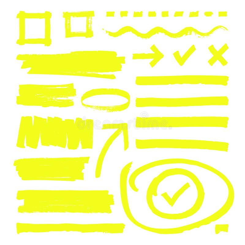 Yellow highlighter lines, arrows and frame boxes with grunge texture isolated vector stock stock illustration