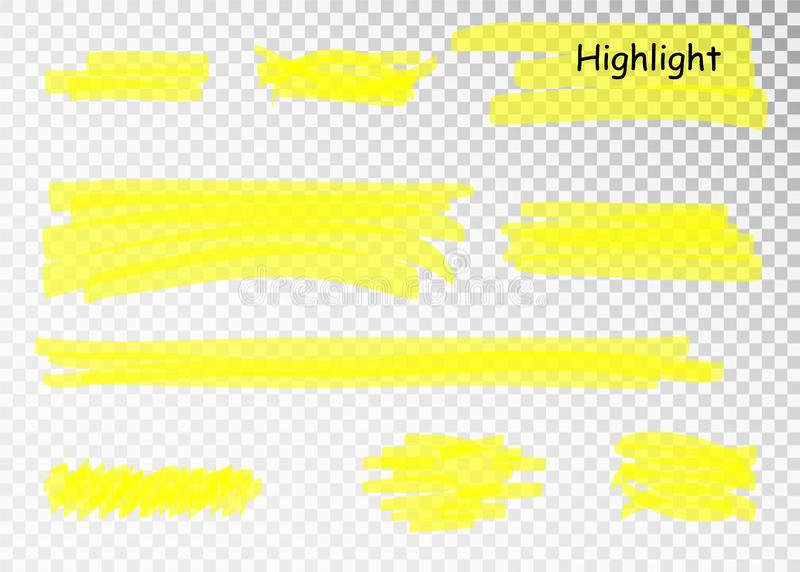 Yellow Highlighter Marker Strokes. Vector brush pen underline lines. Yellow watercolor hand drawn highlight set. royalty free illustration