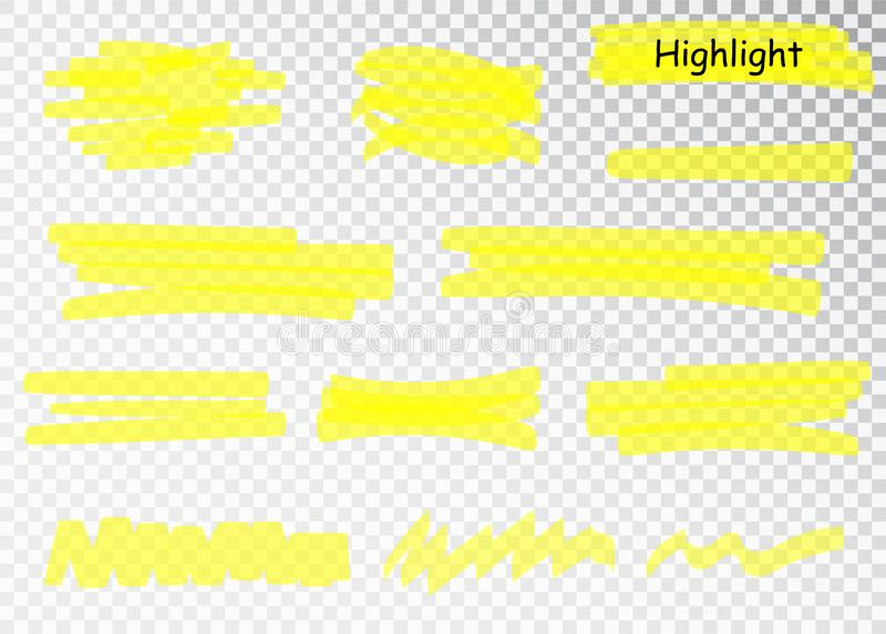 Yellow Highlighter Marker Strokes. Vector brush pen underline lines. Yellow watercolor hand drawn highlight set. stock illustration