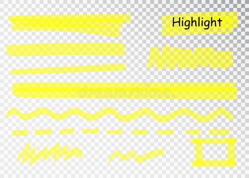 Yellow Highlighter Marker Strokes. Vector brush pen underline lines. Yellow watercolor hand drawn highlight set. Yellow Highlighter Marker Strokes. Vector brush stock illustration