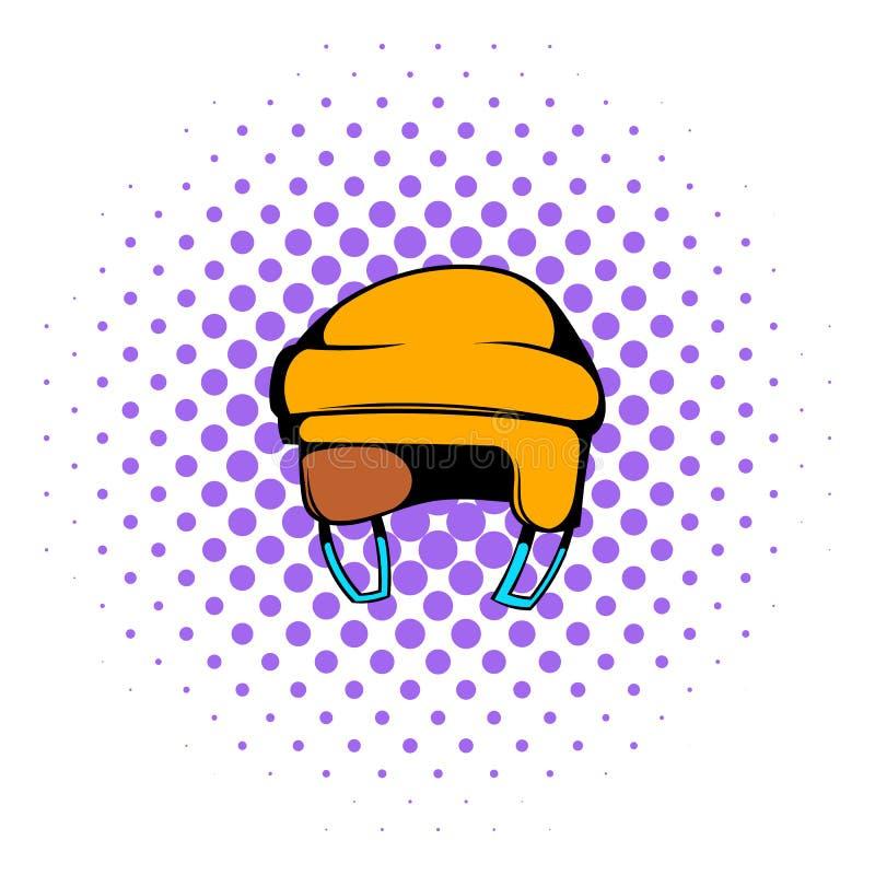 Yellow hockey helmet icon, comics style vector illustration