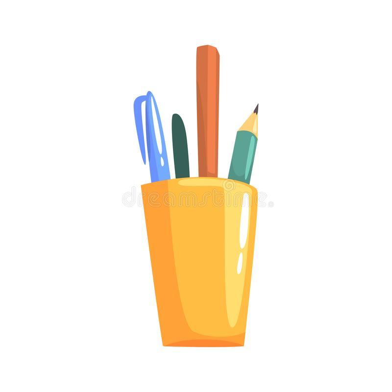 Yellow holder with pencils and pens, office tools cartoon vector Illustration. On a white background stock illustration