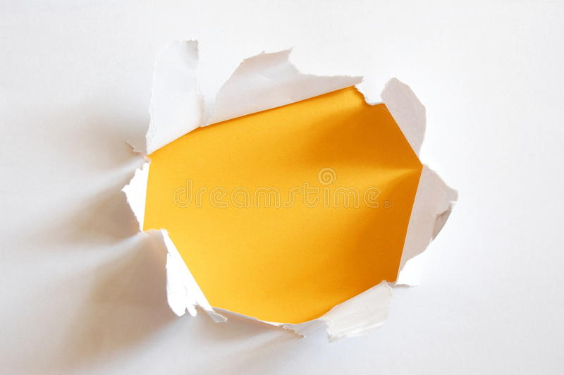 Yellow Hole In Paper Stock Photography