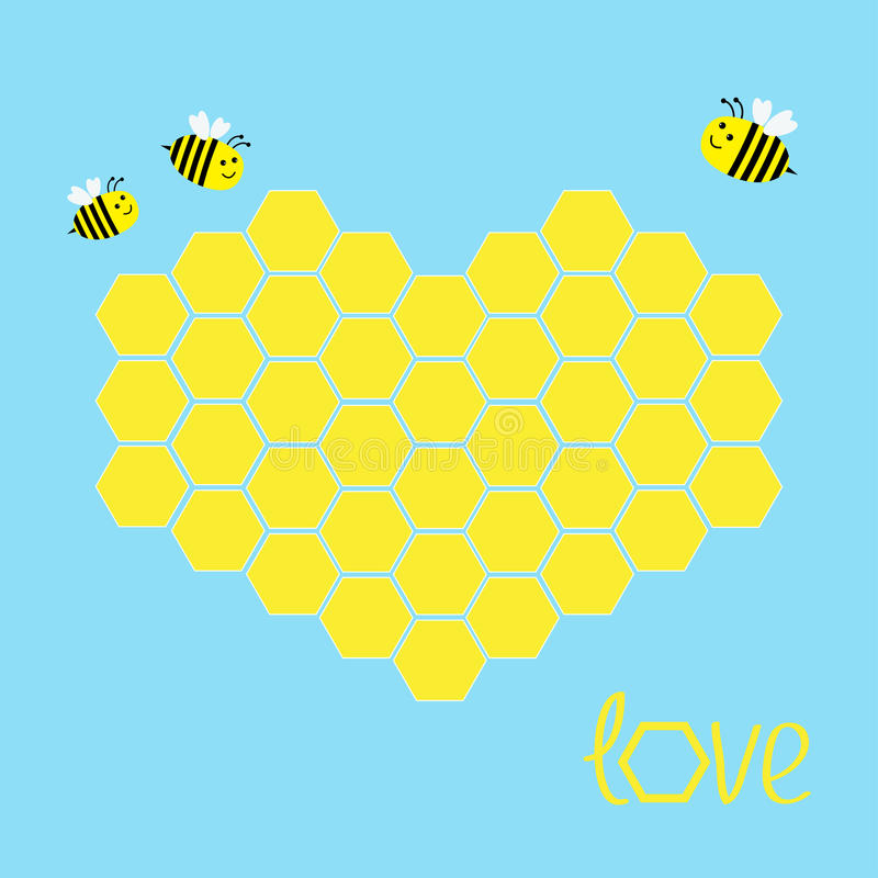 Free Yellow Honeycomb Set In Shape Of Heart. Bee Insect. Beehive Element. Honey Icon. Love Greeting Card. Isolated. Blue Background. Royalty Free Stock Photos - 71485508