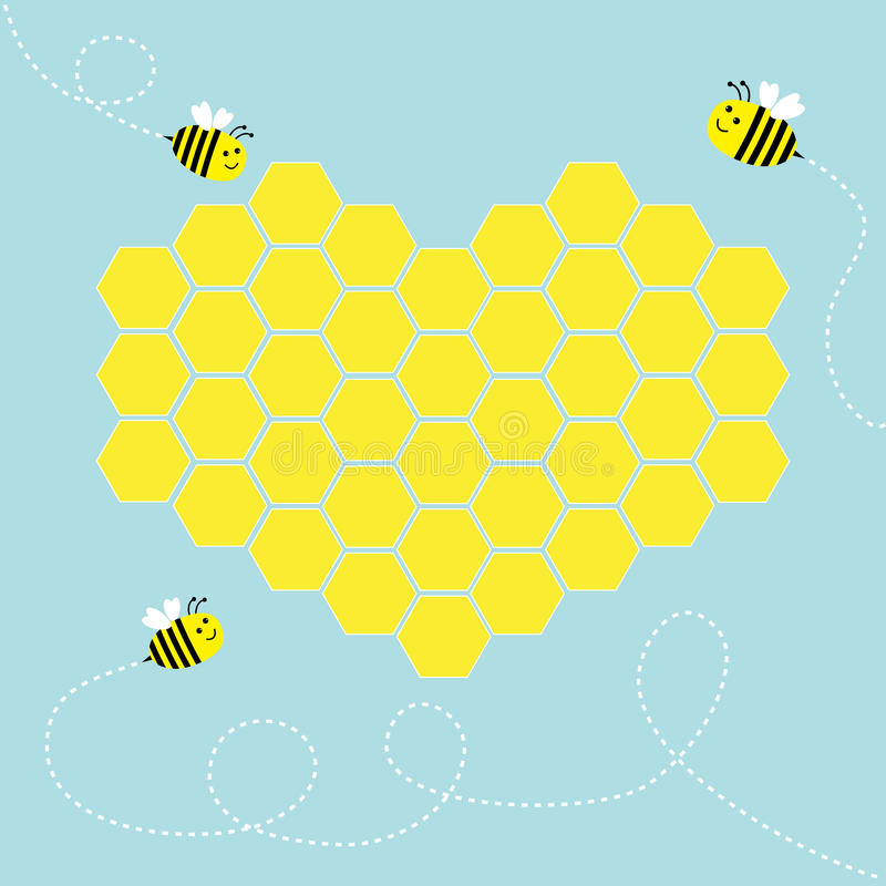 Yellow honeycomb set in shape of heart. Cute cartoon bee. Dash line in the sky. Beehive element. Honey icon. Love greeting card. Isolated. Blue background vector illustration