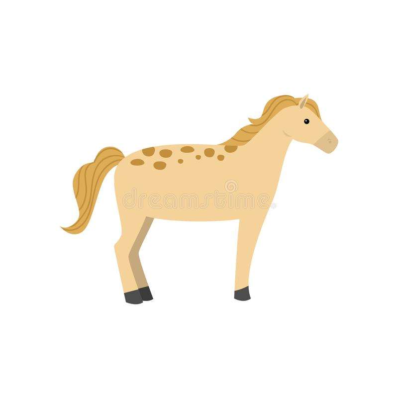 Yellow horse with gold hair and dotted skin with black leg. From farm village. Flat style. Vector illustration on white background vector illustration