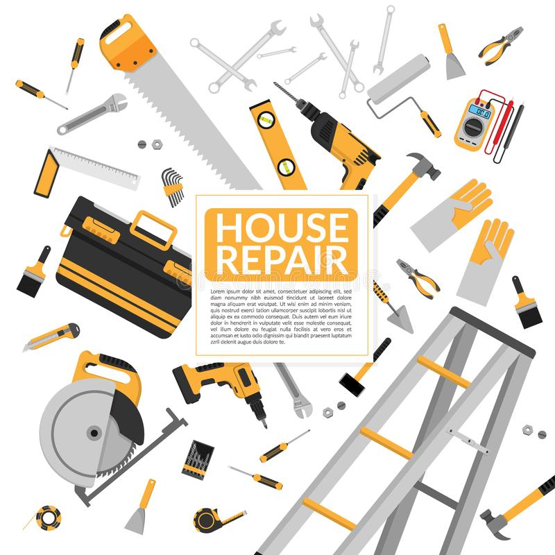Yellow house repair tools and construction working equipment vector illustration