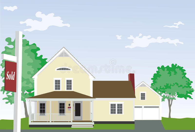 Download Yellow House With Sold Sign Stock Vector - Image: 33508153