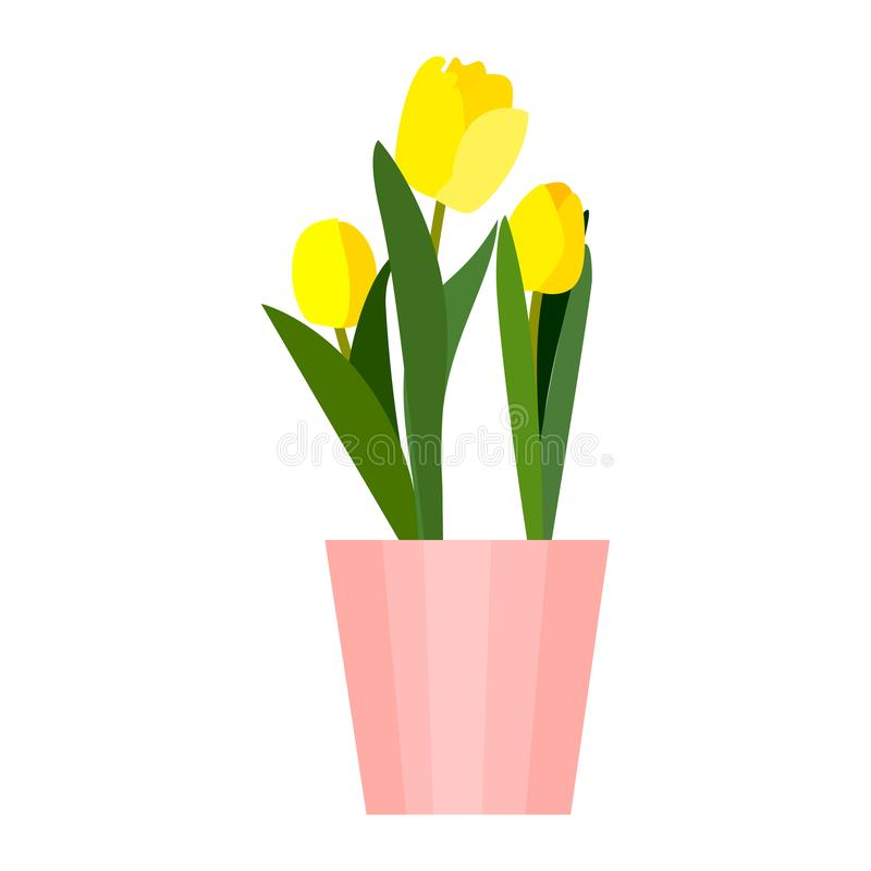 Yellow house tulips plant in pot. Green leaf tulip flower flat. Vector vector illustration