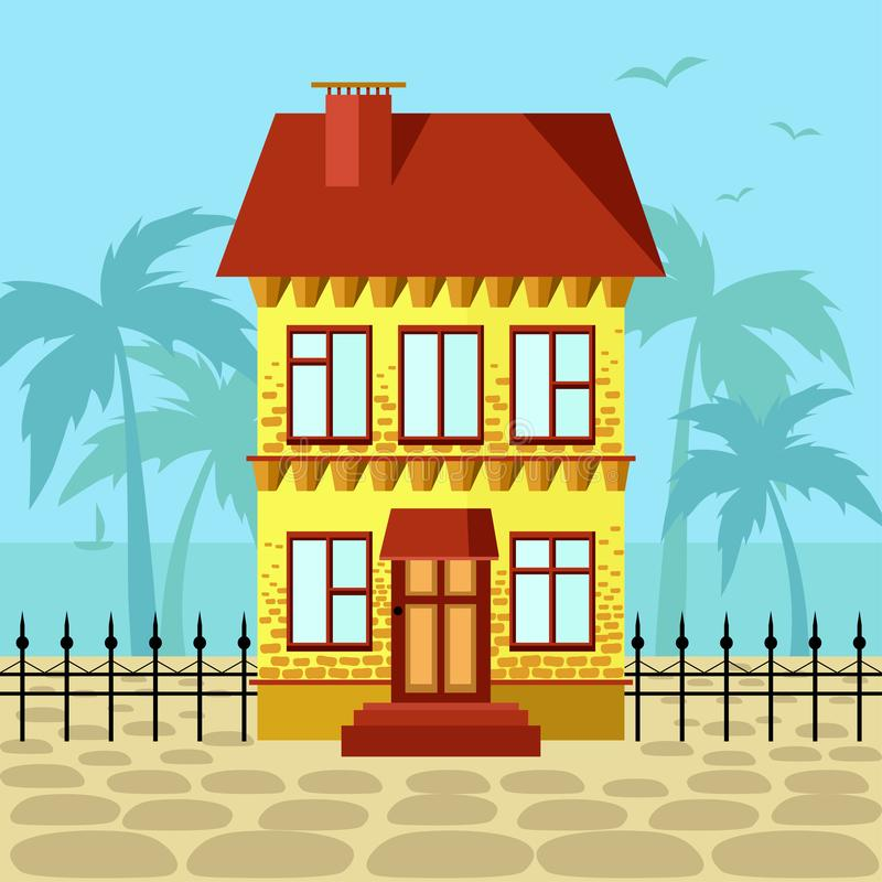 Free Yellow House With Red Roof Near Ocean Royalty Free Stock Image - 145204366