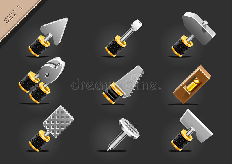 Yellow household tools stock illustration