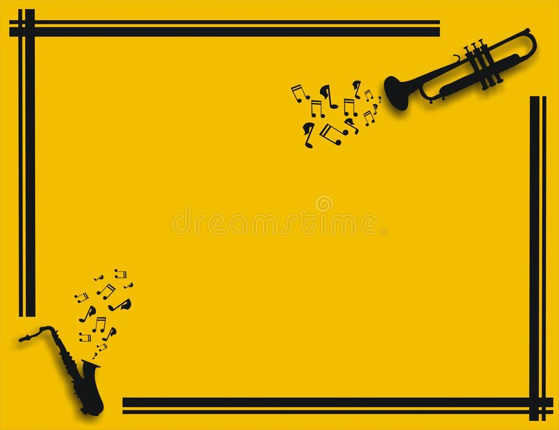 Yellow illustration with saxophone and trumpet playing music stock illustration