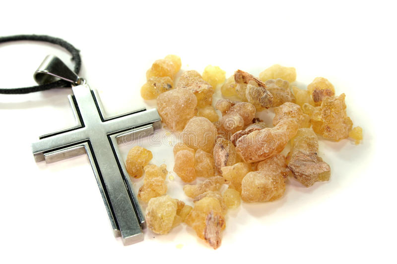 Yellow incense with cross royalty free stock photos