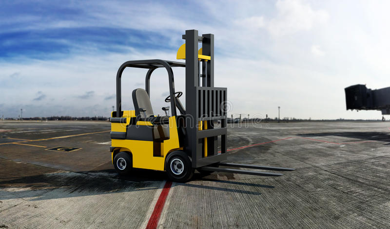 Yellow Industrial Forklift truck stock photo