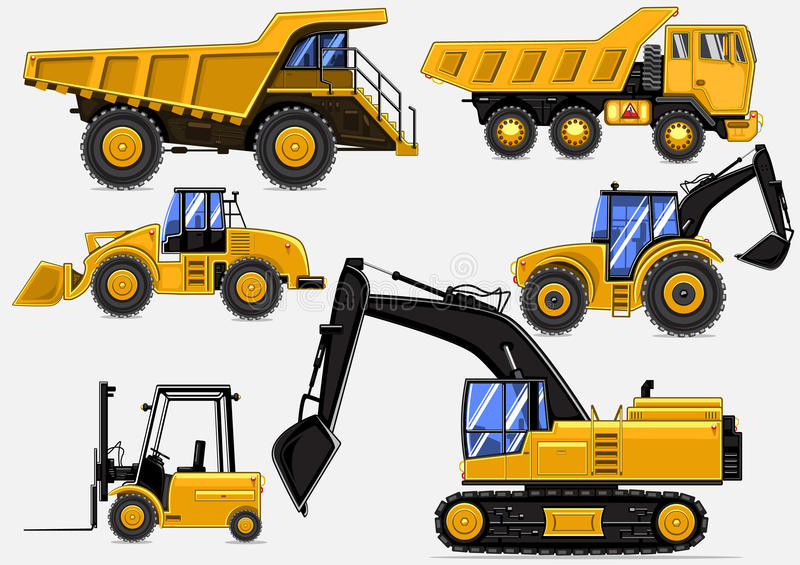 Yellow industrial vehicles royalty free illustration
