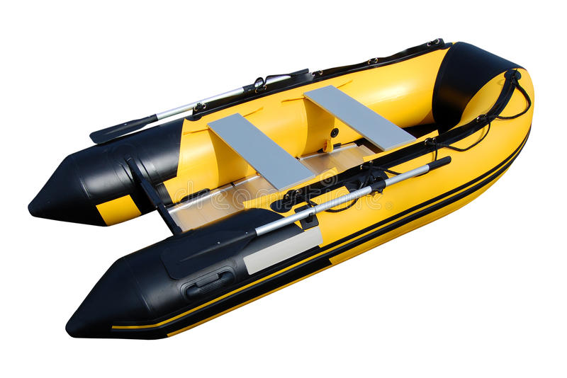 Yellow inflatable boat. Isolated inflatable boat on white background with path royalty free stock photos