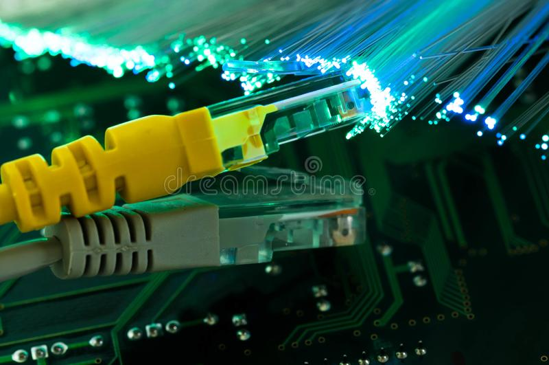 Yellow internet switch , grey switch close up macro stock photos