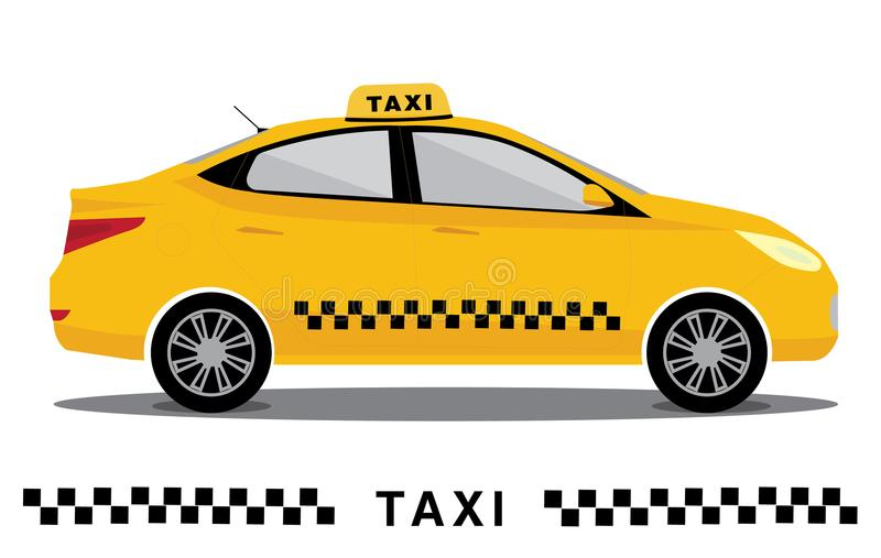 Yellow isolated taxi cab car. Vector flat illustration. Poster for taxi service royalty free illustration