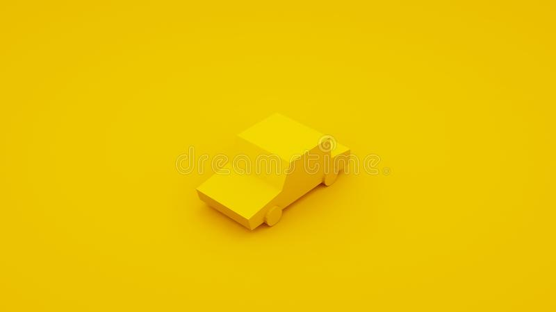 Yellow, isometric low poly car. 3D illustration.  royalty free illustration