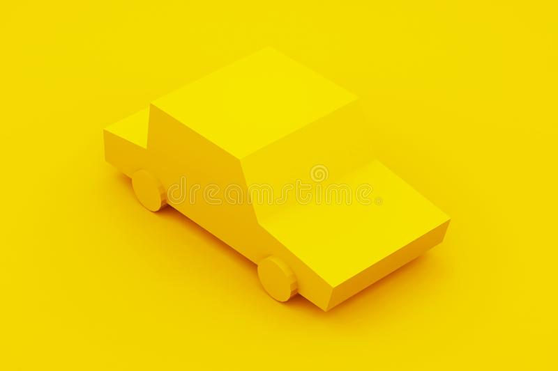 Yellow, isometric low poly car. 3D illustration.  vector illustration