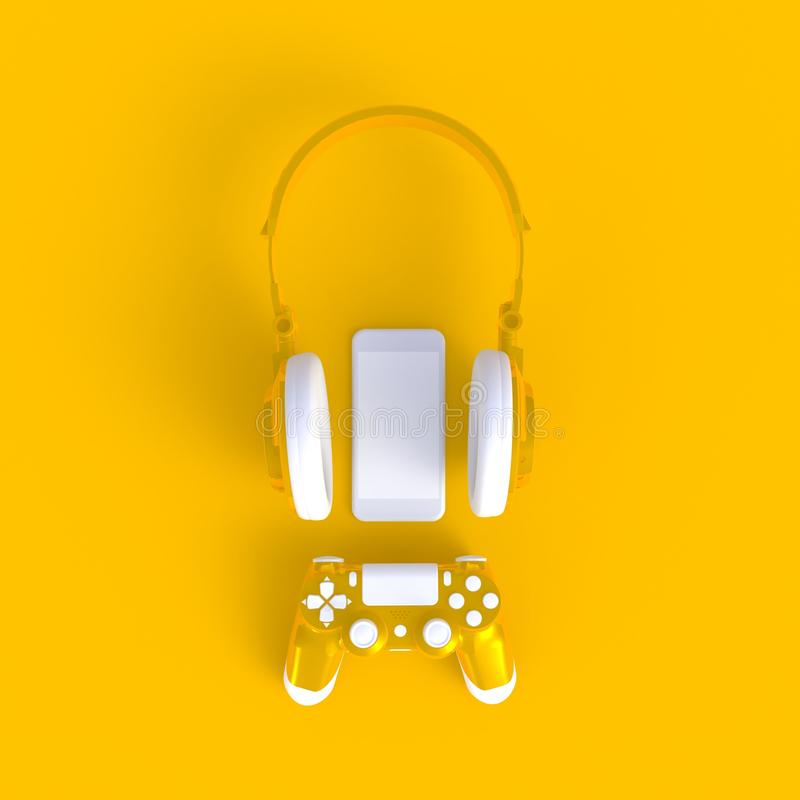 Yellow joystick with yellow headphones and smart phone on yellow table background, Computer game competition. Gaming concept, 3D rendering stock illustration