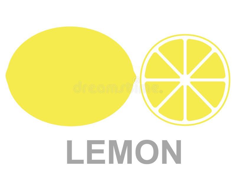 Yellow juicy lemon with a slice stock illustration