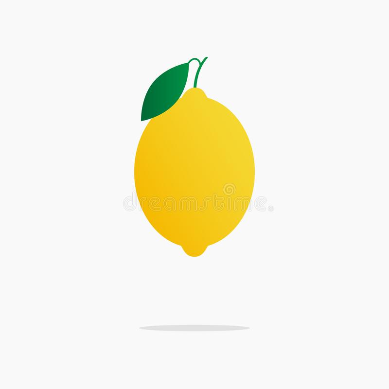 Yellow juicy lemon with a slice of lemon on the isolated white background.Vector illustration of ripe lemon. Hand drawn fruit. stock illustration
