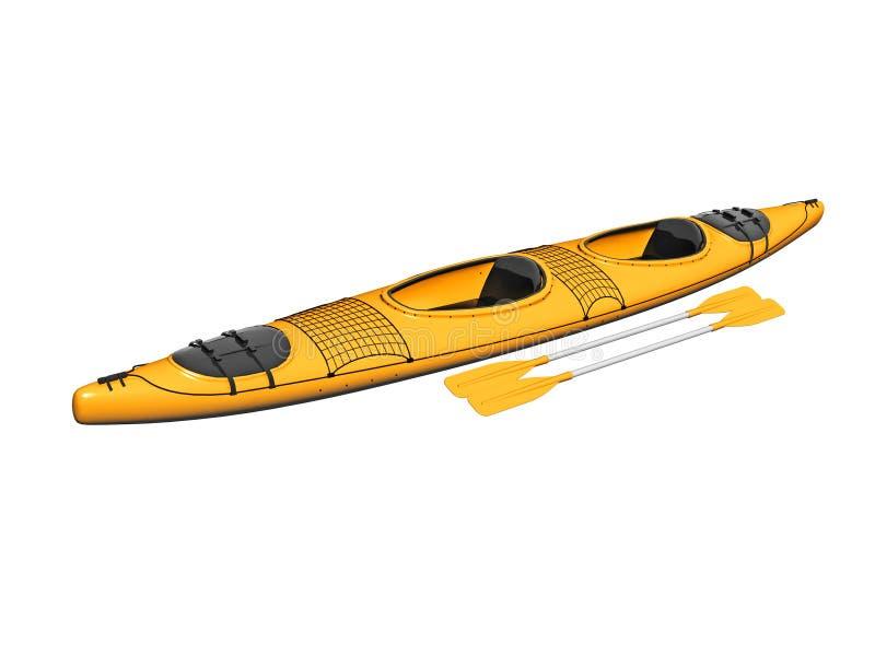 Yellow Kayak With Paddles Stock Photos