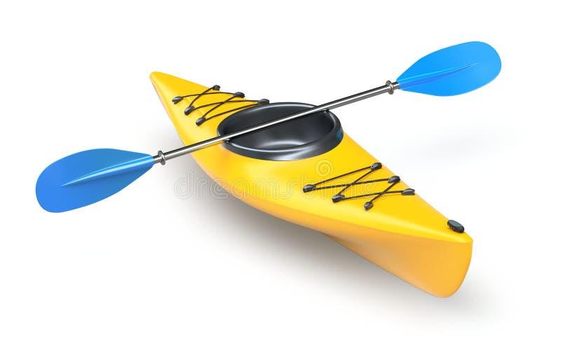 Yellow kayak. Yellow plastic kayak on white background - 3D illustration stock illustration