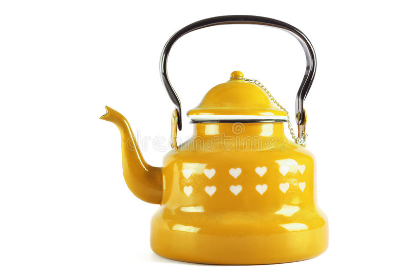 Yellow kettle isolated on white with clipping. Yellow kettle isolated on white background with clipping royalty free stock photography