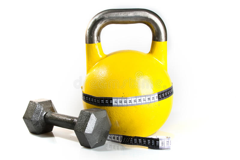 Download Yellow Kettlebell stock image. Image of pound, tape, exercise - 11629427