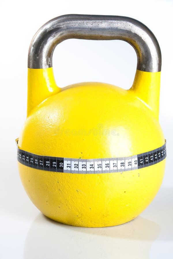 Yellow Kettlebell stock image