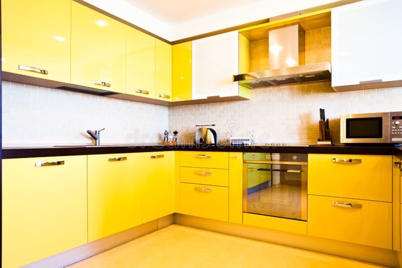 Download Yellow kitchen interior stock image. Image of dinner, corner - 9519955