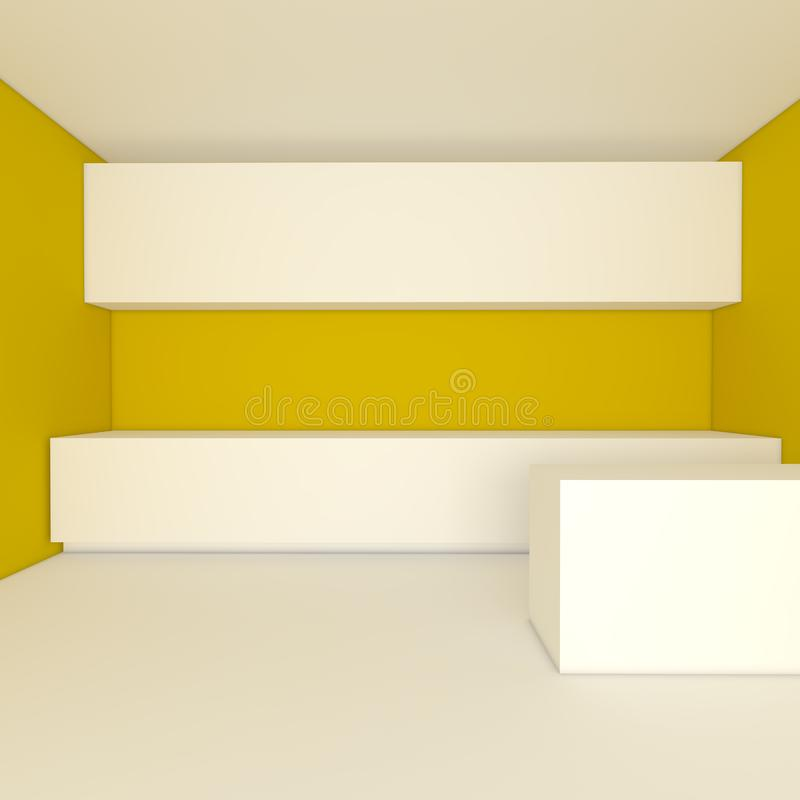 Yellow kitchen room royalty free stock photos