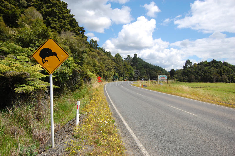 Yellow kiwi bird road sign at roadside. New Zealand stock photos