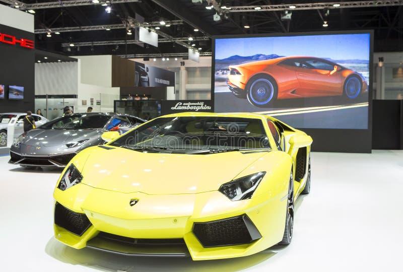 Yellow Lamborghini luxury sport car. Bangkok - March 22 : yellow Lamborghini luxury sport car - in display at The 37th Bangkok international Motor Show 2016 on royalty free stock images
