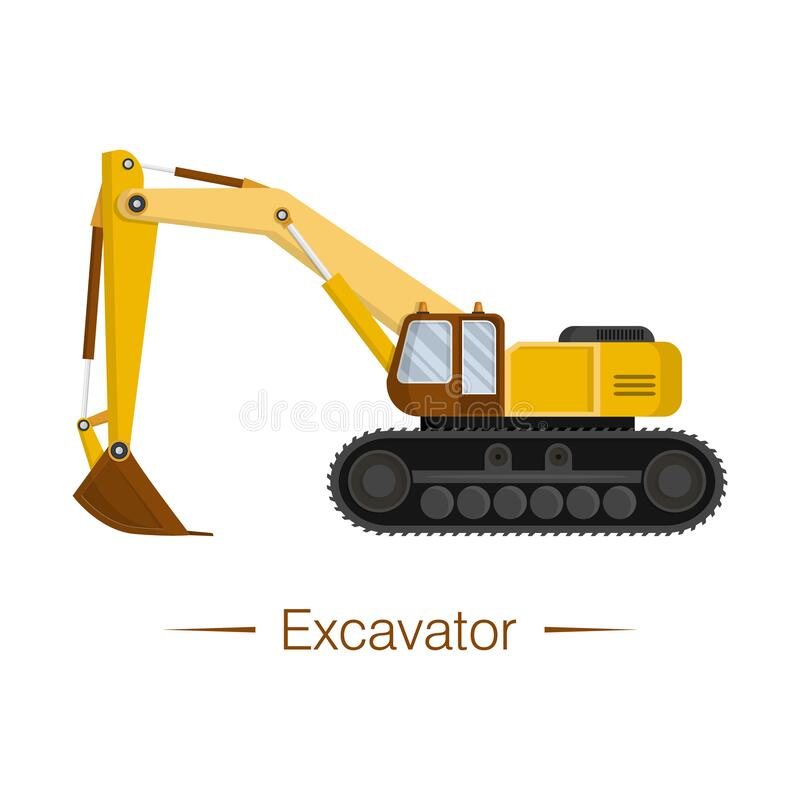 Free Yellow Large Modern Excavator With Brown Cab And Bucket. Digging Ditches Stock Photos - 174706693