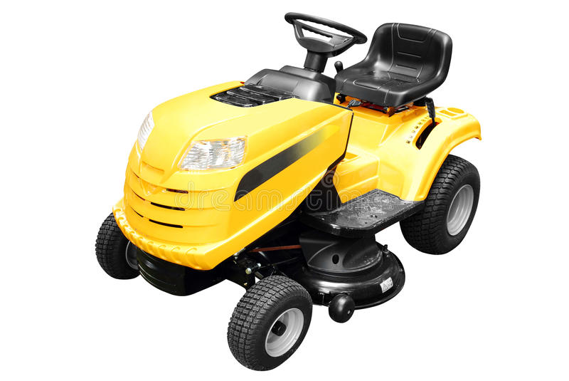 Yellow lawn mower isolated stock image
