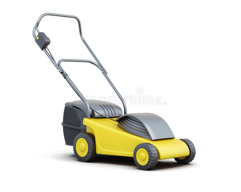 Yellow lawn mower isolated on a white background. Electric lawn mower. 3d rendering vector illustration