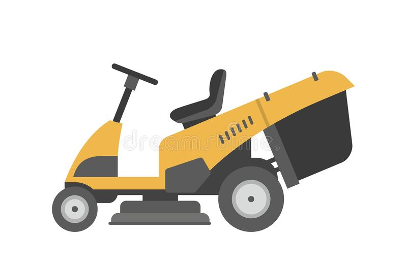 Yellow lawnmower vector illustration