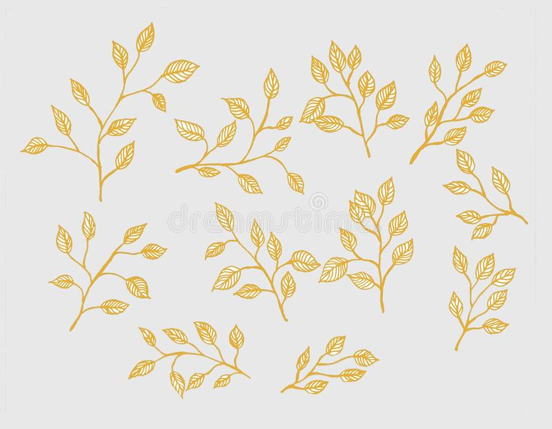 Yellow leaf. Pattern on white background for wallpaper, fabric, fashion textile royalty free illustration
