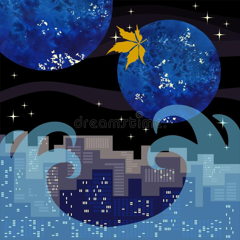 The yellow leaf of the virgin grapes flies over the big city by the sea against the background of the night sky with planets. And stars. Vector illustration vector illustration