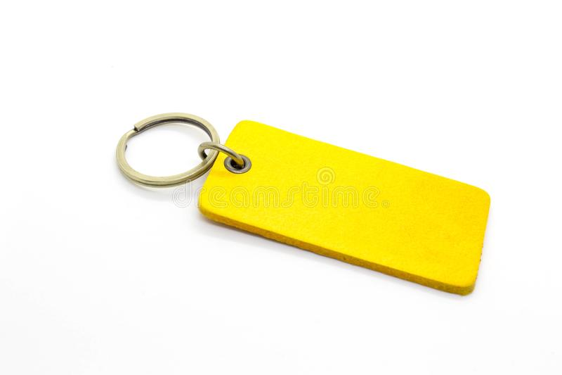 Yellow leather Keychain royalty free stock photography
