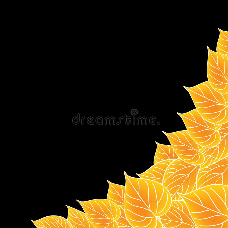 Yellow leaves over black. Fall vector background. Yellow leaves over black. Fall vector background stock illustration