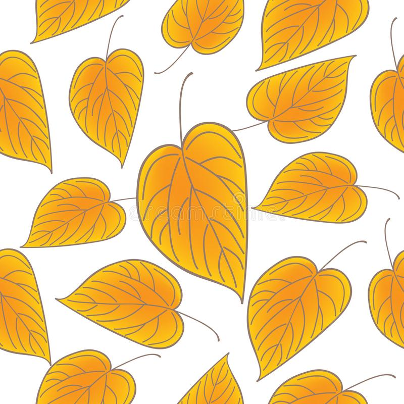 Yellow leaves over white seamless pattern. Fall vector background. Yellow leaves over white seamless pattern. Fall vector background royalty free illustration