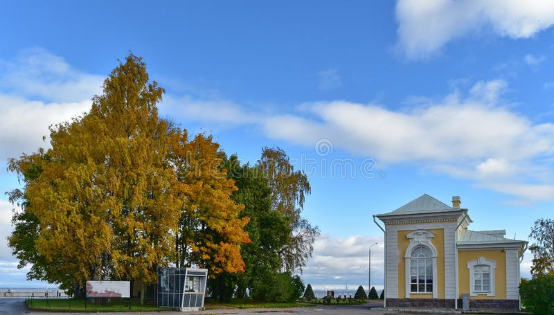 The yellow leaves trees and white beautiful houses bythe Baltic sea in autumn. royalty free stock photos