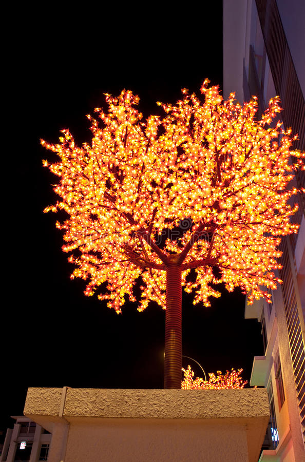 Yellow LED Tree with Dark sky background stock photography