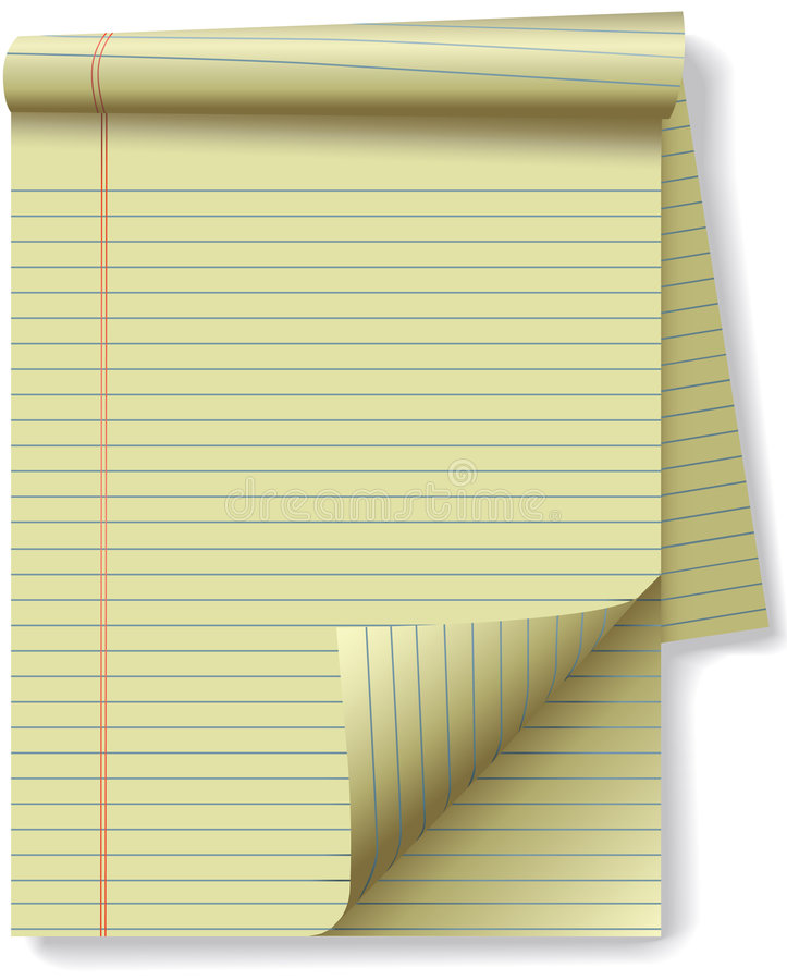 Yellow Legal Pad Corner Paper Page Curl. Pages of yellow legal ruled notebook pad paper - page curl flip and drop shadows. Easily tilt or otherwise edit it vector illustration